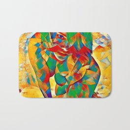 3334s-SRC Abstract Woman with Blue Eyes Rendered in Color and Style Bath Mat