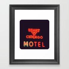 Heart 'O' Chicago Motel (Night) ~ vintage neon sign Framed Art Print