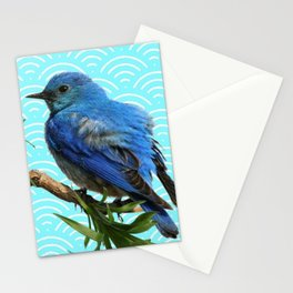AQUA SPRING BLUE BIRD ART Stationery Cards