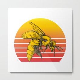 Sunset Bee Metal Print