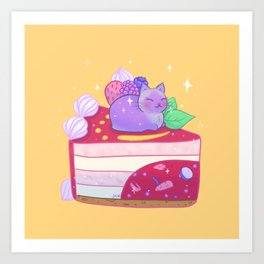 Berry Kitty Cake Art Print