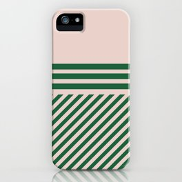 Geometric modern pink and green iPhone Case