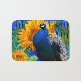 #2 BLUE PEACOCK &  SUNFLOWERS BLUE MODERN ART Bath Mat