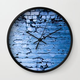 Blue Brick Wall Wall Clock