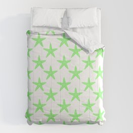 Starfishes (Light Green & White Pattern) Comforters
