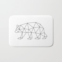 Geometric Bear in Black and White Bath Mat