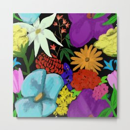 Botanical pattern exotic and native flowers Metal Print