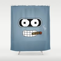 bender Shower Curtains featuring Bender Robot by OverClocked