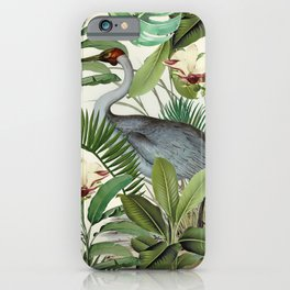 Tropical Heron Bird Rainforest Illustration iPhone Case