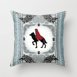 Red and Wolf Throw Pillow