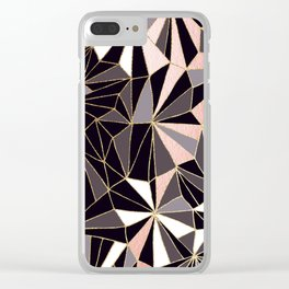 Stylish Art Deco Geometric Pattern - Black, Coral, Gold #abstract #pattern Clear iPhone Case