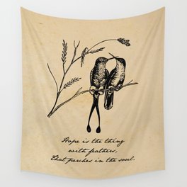 Emily Dickinson - Hope is the Thing with Feathers Wall Tapestry