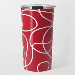Doodle Line Art | White Lines on Dark Red Travel Mug