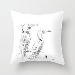 Inky Cormorants Throw Pillow