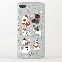 Christmas French Bulldog Clear iPhone Case