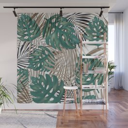 Tropical Leaves Nature Print Palm Fronds Wall Mural