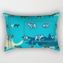 Muntjac Blue. Rectangular Pillow