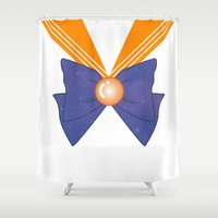 sailor venus Shower Curtains featuring Galactic Sailor Venus Bow by Valentina Cariel