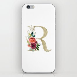 Letter R Monogram Gold and Watercolor Flowers iPhone Skin