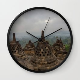 Cloudy morning on top of Borobudur temple Wall Clock