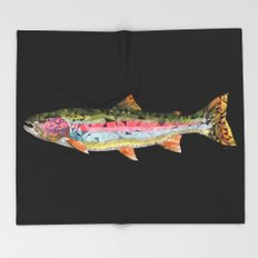 Geometric Rainbow Trout Throw Blanket