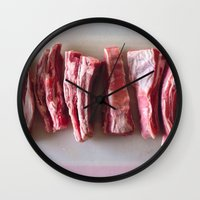 meat Wall Clocks featuring Meat Meat Meat  by The Avant-Garden