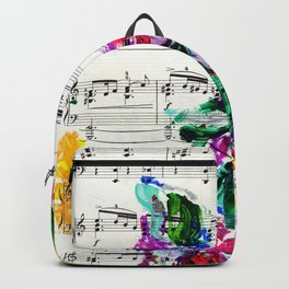 Musical Beauty - Floral Abstract - Piano Notes Backpack