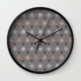 Boho Baby // Middle Eastern Metallic // Scorpion Symbol + Geometric Floral in Charcoal Wall Clock