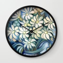 """Retro Vintage Bouquet of White and Blue Flowers"" Wall Clock"