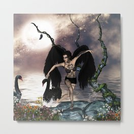 Wonderful dark swan fairy Metal Print