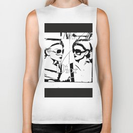 Sketched Fashion19 White on Black Biker Tank