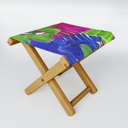 Colorful tropical leaves Folding Stool