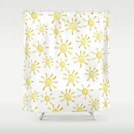 Happy Sunshine Print Shower Curtain