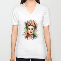 bright V-neck T-shirts featuring Frida Kahlo by Tracie Andrews