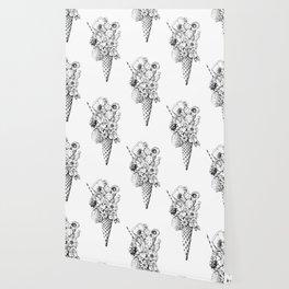 BLACK AND WHITE FLOWER ICE CREAM Wallpaper