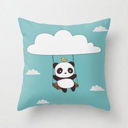 Kawaii Cute Panda In The Sky Throw Pillow