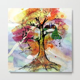 Peacock Family Tree Fine, Multicolored, Watercolor, Family Tree Art Metal Print