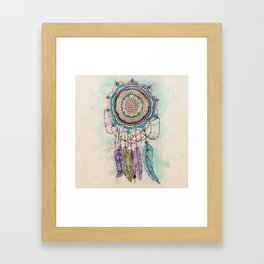Modern tribal hand paint dreamcatcher mandala design Framed Art Print