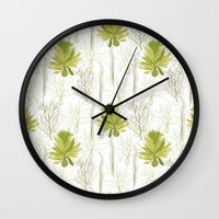 green pattern Wall Clocks featuring Green pattern  by LOLIA-LOVA