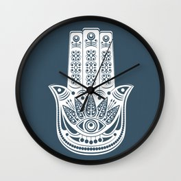 Hamsa Blue Linen Wall Clock