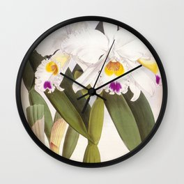 Vintage White Lindenia Orchid Wall Clock
