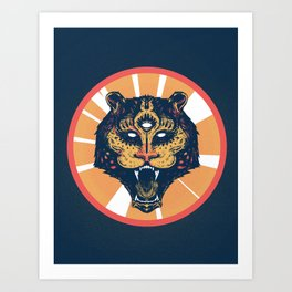 Holy tiger - color Art Print