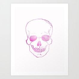 Pink Watercolor Skull  Art Print