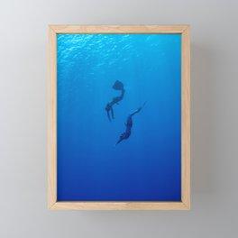 The romantic simultaneous freedive into the sea depth Framed Mini Art Print