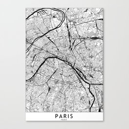 Paris Black and White Map Canvas Print