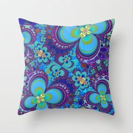 Bright Blue And Purple Flower Pattern Throw Pillow