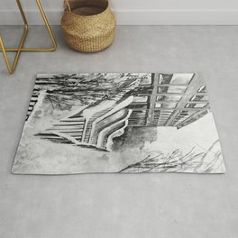 Brooklyn New York in Snow Storm Black and White Rug