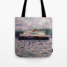 Kahloke - The Hornby Ferry - Coastal Boat Impressionist Art Acrylic on Canvas Tote Bag