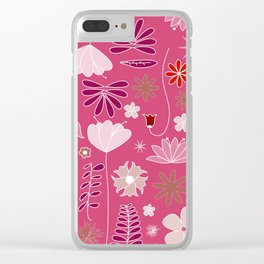 Miscellaneous flowers in a pink backgound Clear iPhone Case