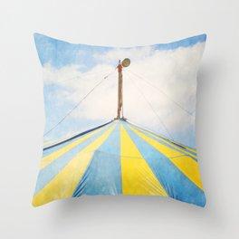 Big Top Circus Tent Surreal Blue and Yellow Photograph Throw Pillow
